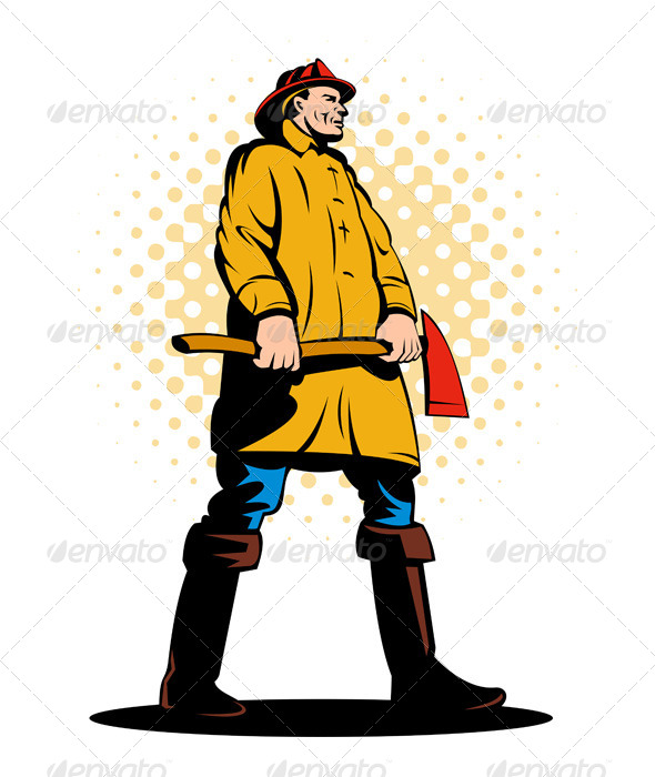 GraphicRiver Firefighter Holding an Ax 5213259