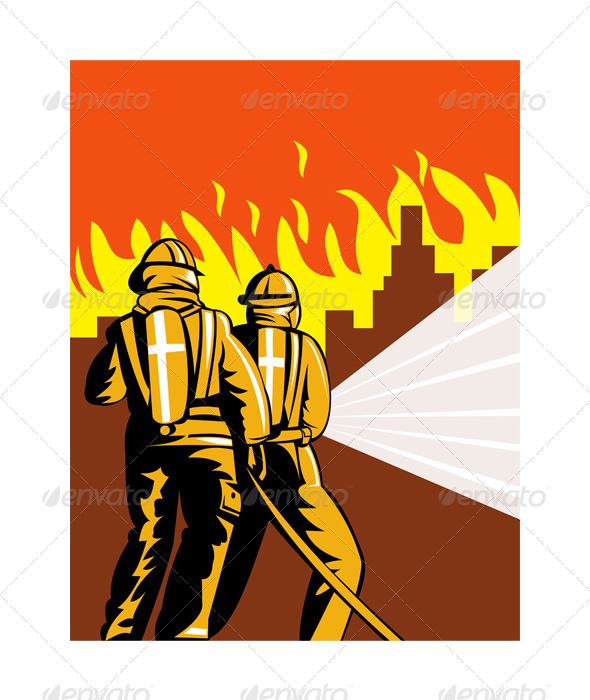 GraphicRiver Firefighter Fighting Fire 5213261
