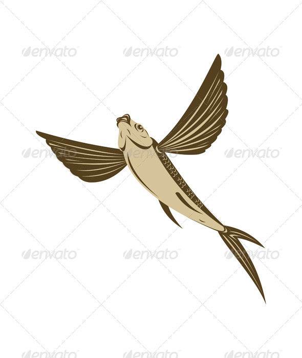 GraphicRiver Flying Fish Retro Style 5213321
