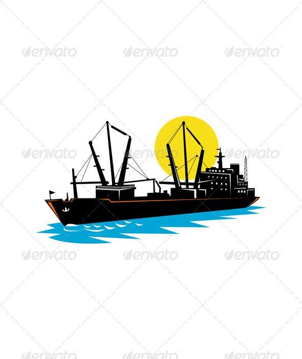 GraphicRiver Cargo Ship at Sea 5213353