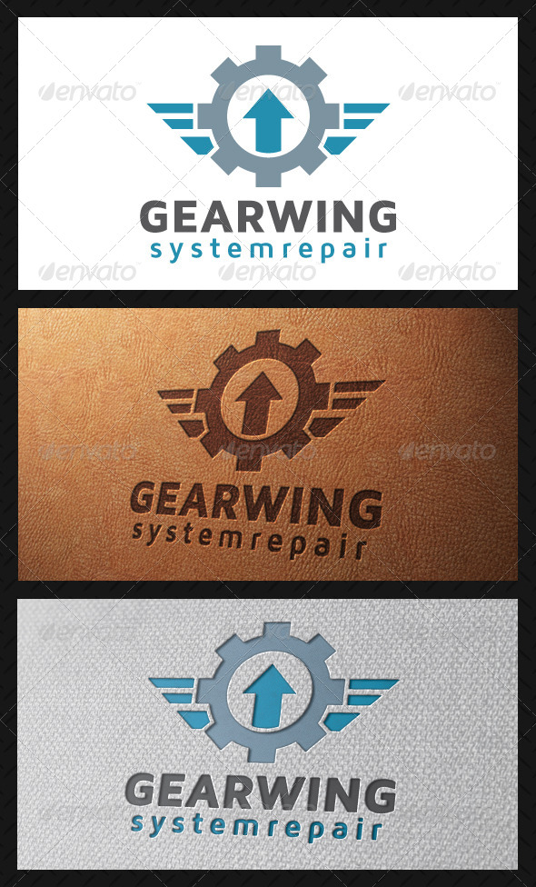 GraphicRiver Gear Wings Crest Logo Template 5213462
