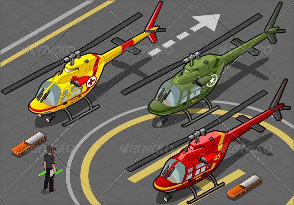 GraphicRiver Isometric Helicopters Landing in Three Livery 5213532