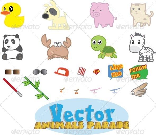 GraphicRiver Vector Animals Parade 5191383