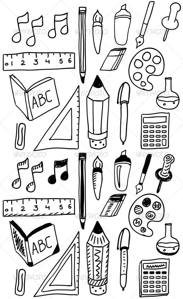 GraphicRiver Hand Drawn Back to School Doodle Set 5213794