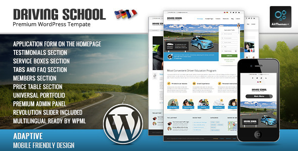 Driving School: WordPress Theme for Small Business - Education WordPress