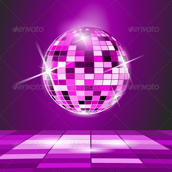 GraphicRiver Purple Party Background with Disco Ball 5213887