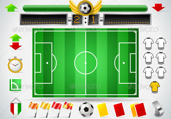 GraphicRiver Infographic Set of Soccer Field and Icons 5213921