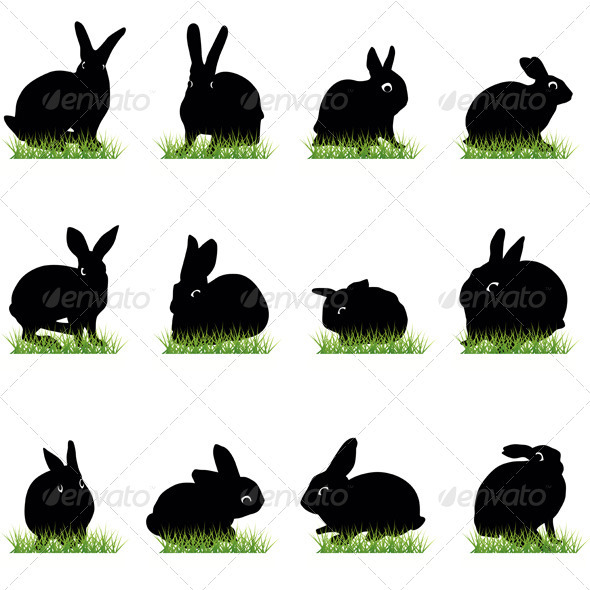 Rabbits Silhouettes Set