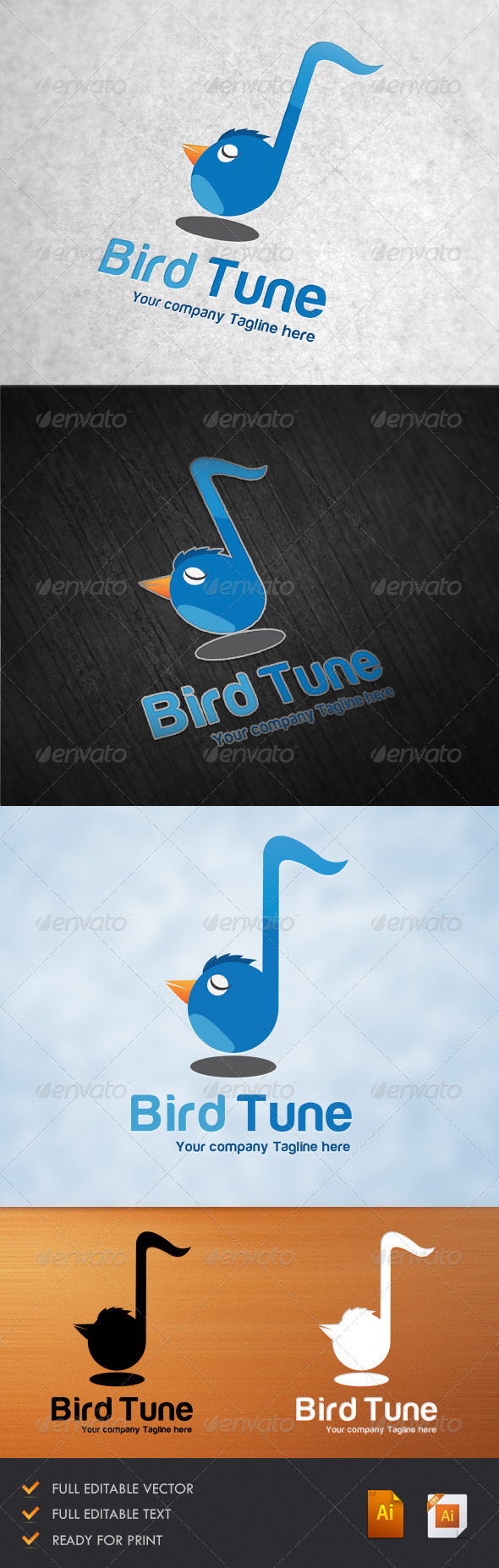 GraphicRiver Bird Tune Logo Templete 5202189