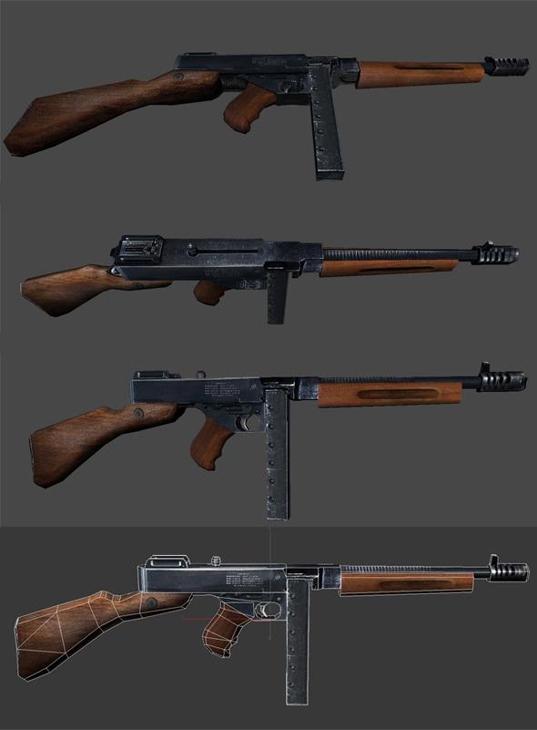 3DOcean Thompson Submachine Gun 3D Model 5215048