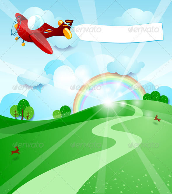 GraphicRiver Sunrise with Airplane and Banner 5215400