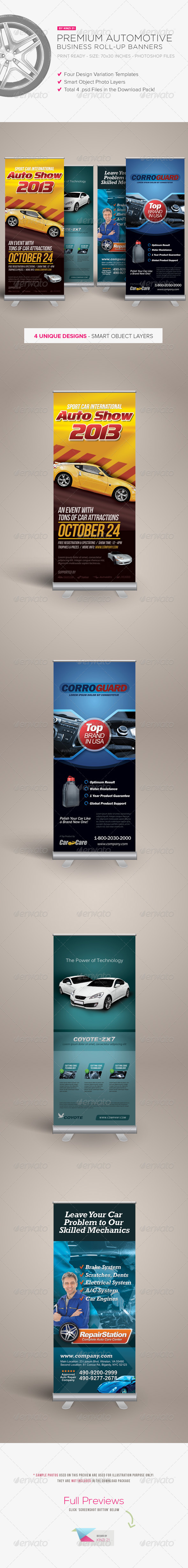 Premium Automotive Business Roll-up Banners - Signage Print Templates