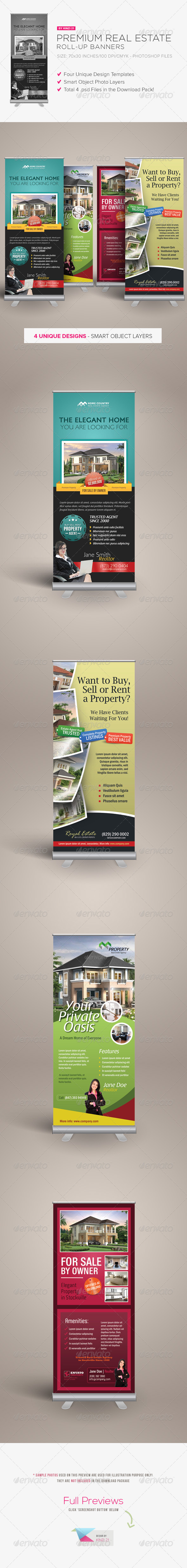 Premium Real Estate Roll-up Banners - Signage Print Templates