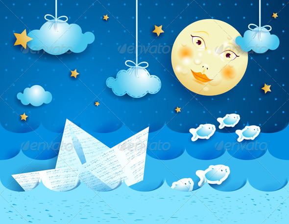 GraphicRiver Paper Boat at Night 5215612