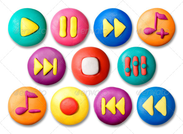 Child's plasticine buttons. - Stock Photo - Images