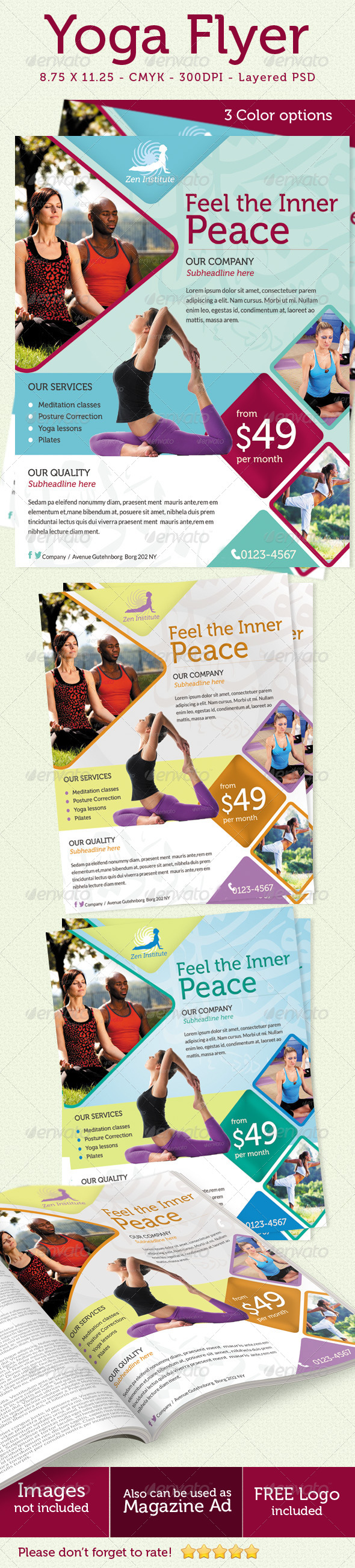 GraphicRiver Yoga Flyer Print ad 5215785