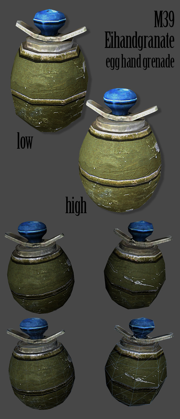 3DOcean M39 Eihandgranate Egg Hand Grenade 3D Model 5216922