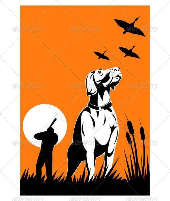 GraphicRiver Retriever Dog Hunter Aiming Shotgun 5216985