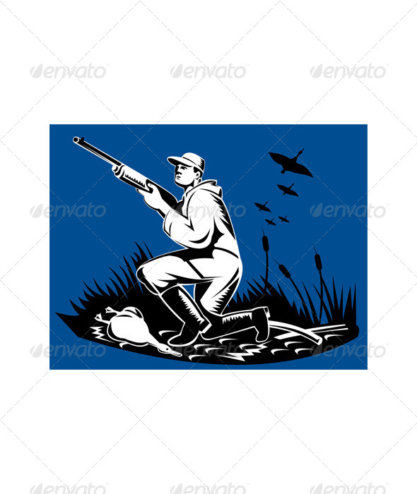 Hunter Aiming Rifle Woodcut Retro