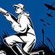 Hunter Aiming Rifle Woodcut Retro