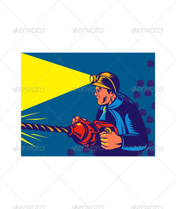 Coal Miner Drilling Jackdrill Retro