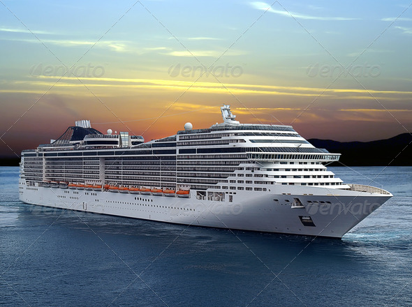 PhotoDune Luxury Cruise Ship Sailing from Port on Sunset 535679