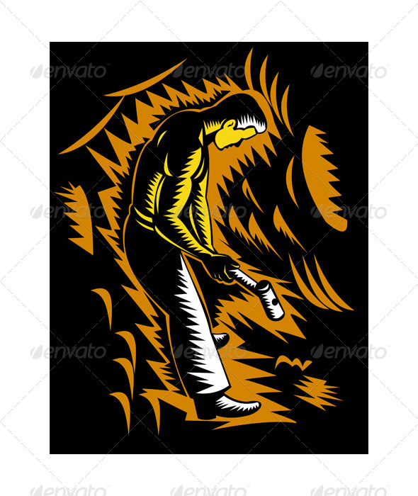 GraphicRiver Coal Miner Sledgehammer Woodcut Retro 5217211
