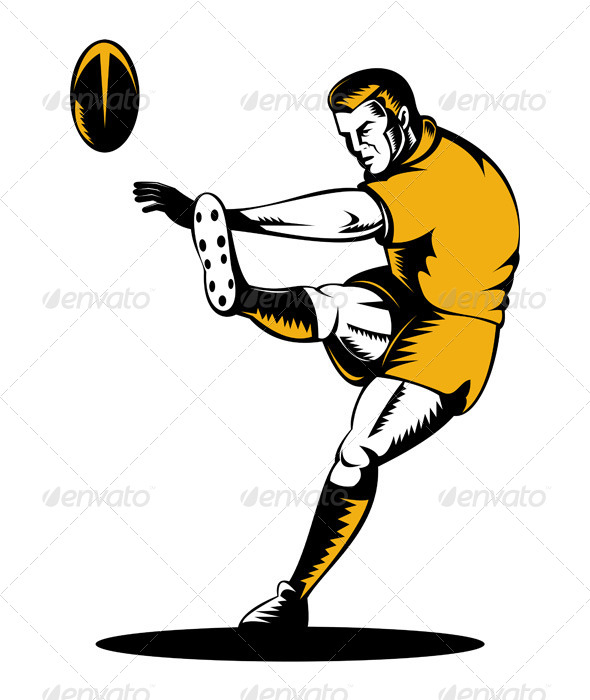 GraphicRiver Rugby Player Kicking Ball Woodcut Retro 5217218