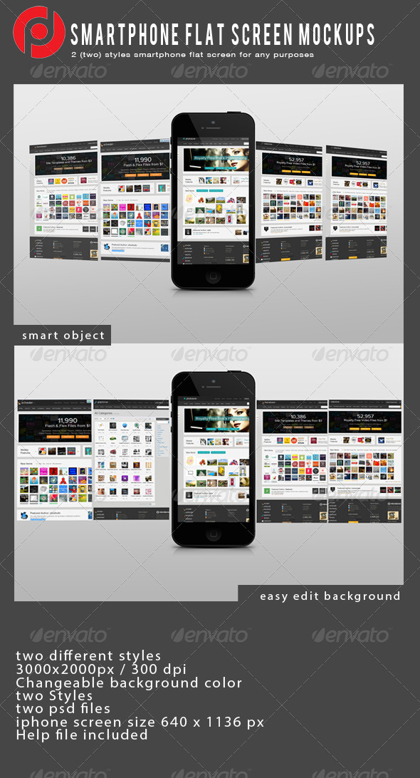 GraphicRiver Smartphon Flat Screen Mockup 5215769