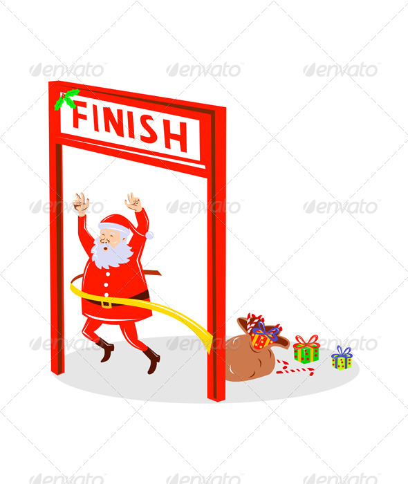 GraphicRiver Santa Claus Marathon Race Cross Finish Line 5217327