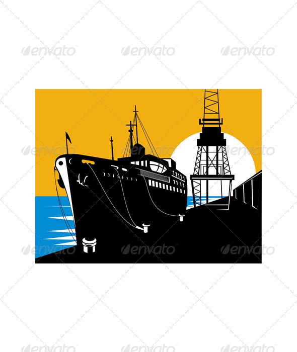 GraphicRiver Ship At Pier Dock Harbor Retro 5217347