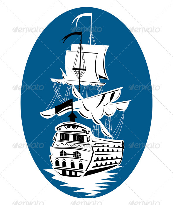 GraphicRiver Spanish Galleon Sailing Ship Retro 5217349