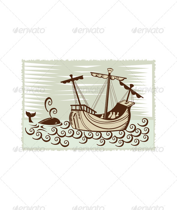 GraphicRiver Whale Spanish Galleon Sailing Ship Retro 5217350