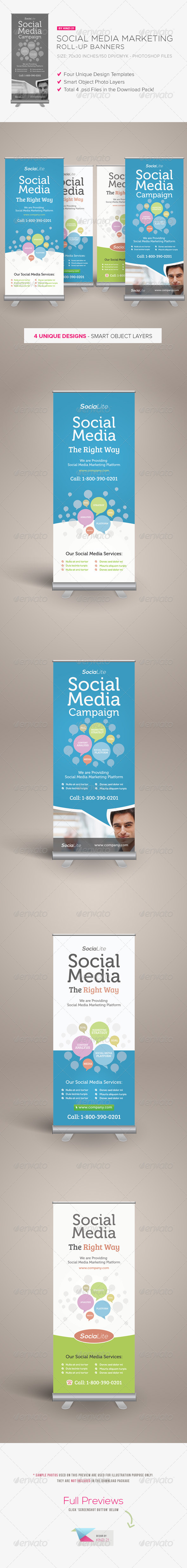 Social Media Marketing Roll-up Banners - Signage Print Templates