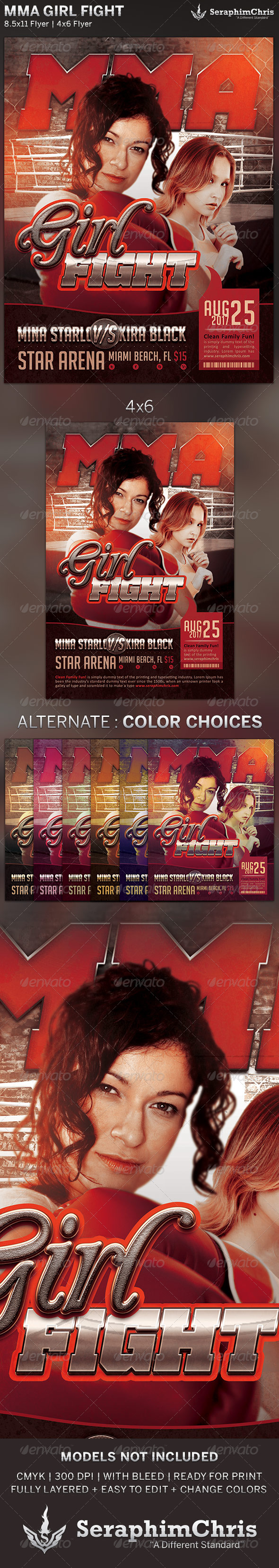 GraphicRiver Girl Fight MMA Event Flyer Template 5217840