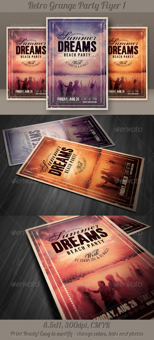 GraphicRiver Retro Grunge Party Flyer 1 5218092