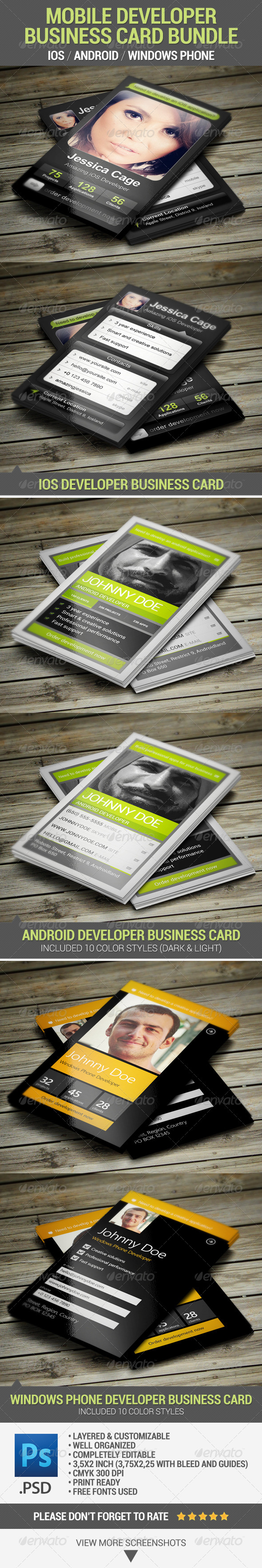 Mobile Developer Business Card Bundle - Industry Specific Business Cards