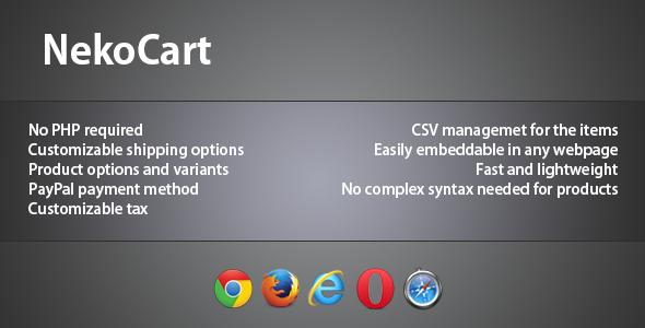 NekoCart - CSV-based jQuery Shopping Cart