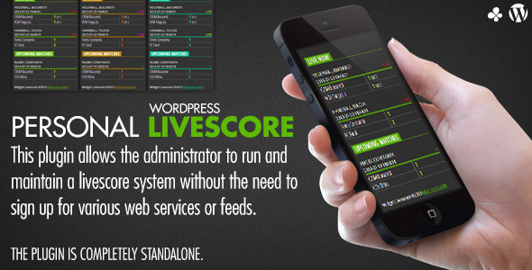 Personal Livescore plugin allows the administrator to run and maintain a livescore system without the need to sign up for various web services or feeds. The plu