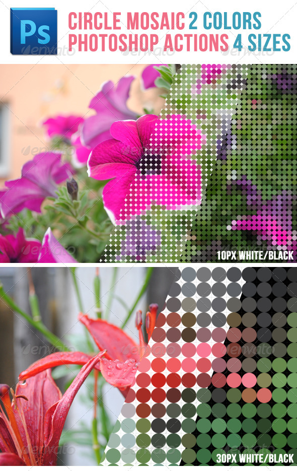GraphicRiver Circle Mosaic Photoshop Actions 5210306