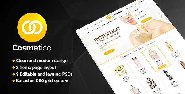 Cosmetico - Beauty Shop PSD Template - Shopping Retail