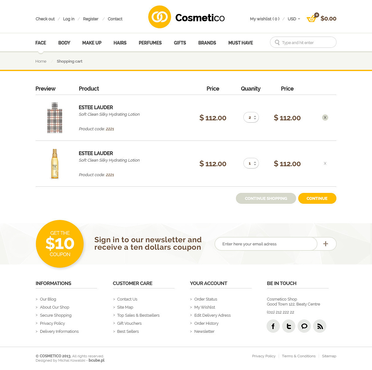 Cosmetico - Beauty Shop PSD Template