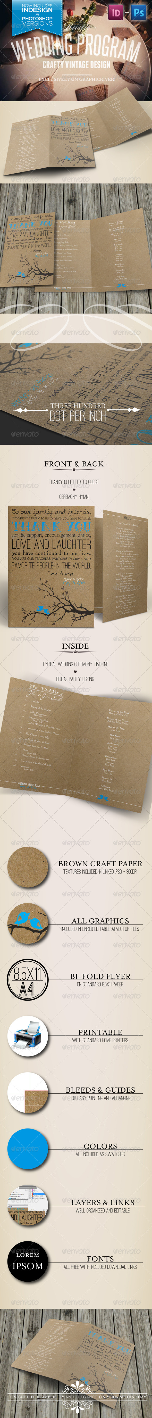 Rustic Wedding Program - Weddings Cards & Invites