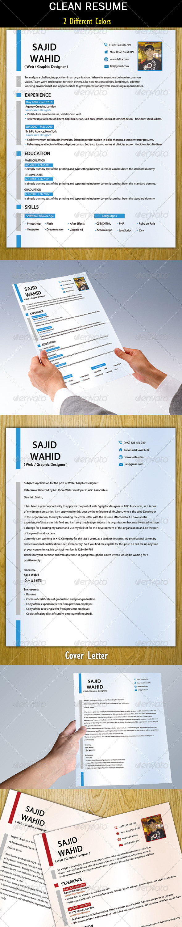 GraphicRiver Clean Resume & Cover Letter 5220095
