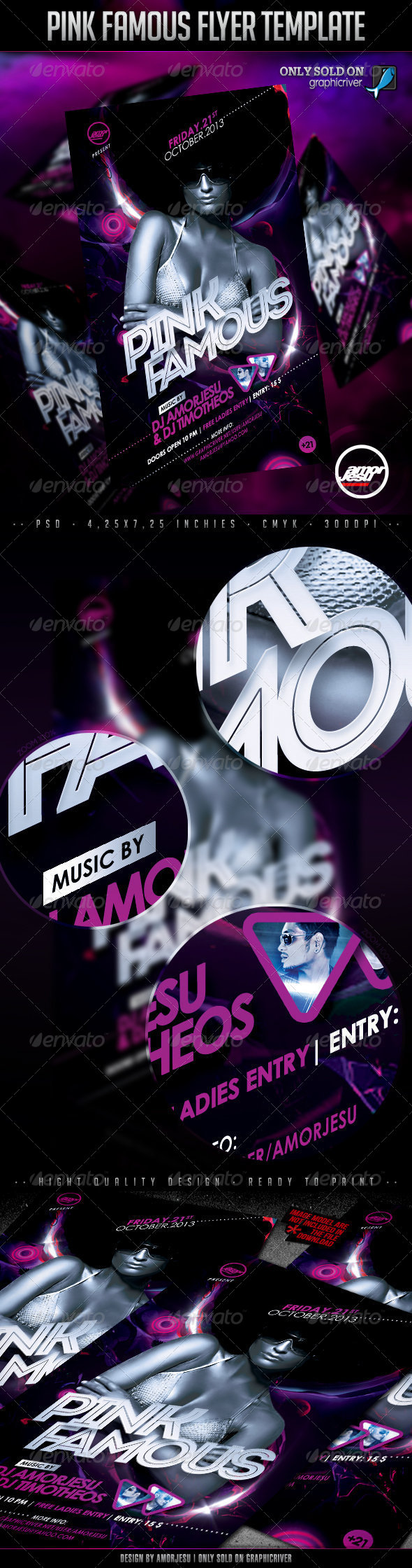 Pink Famous Flyer Template - Clubs & Parties Events