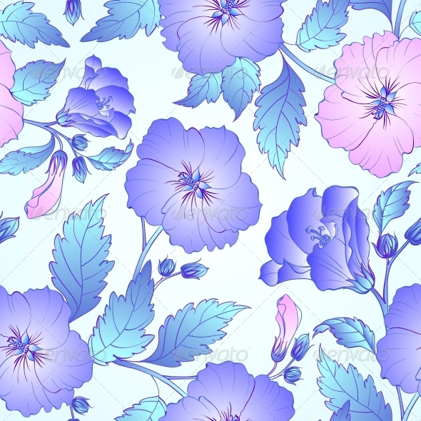 GraphicRiver Seamless Pattern with Hibiscus 5220254