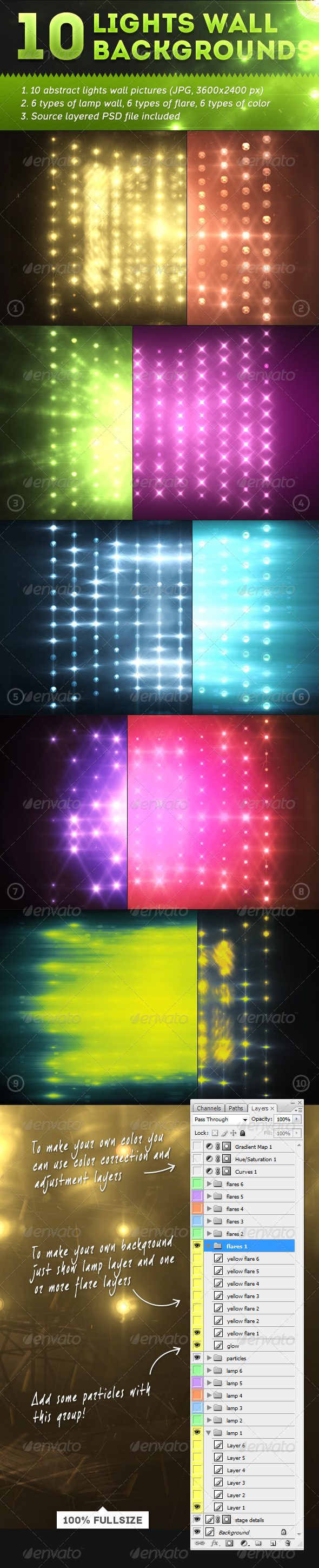 GraphicRiver 10 Lights Wall Backgrounds 5220262