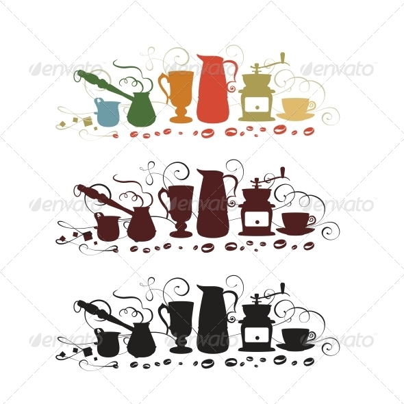 GraphicRiver Coffee Utensil Shapes 5220267