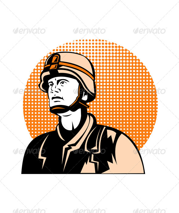 GraphicRiver American Serviceman Looking Up 5220302