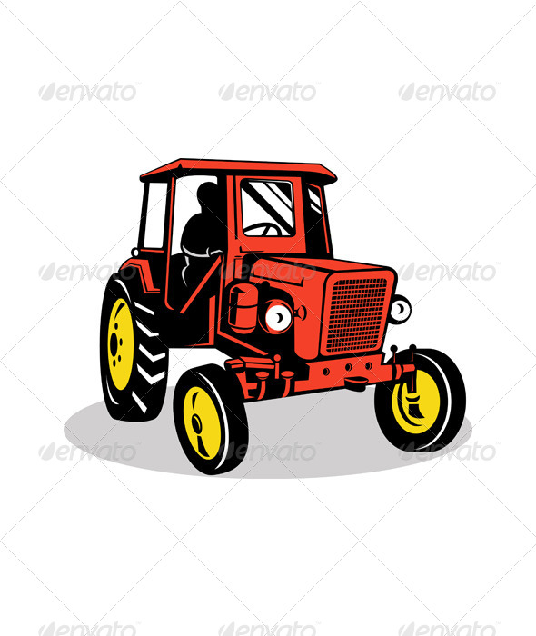 GraphicRiver Vintage Farm Tractor Front Isolated Retro 5220322